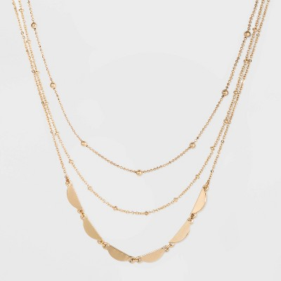 Three Row Layered Necklace - A New Day™ Gold