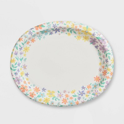 """10"""" x 12"""" 10ct Oval Spring Floral Paper Dinner Plate - Spritz™"""