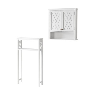 Coventry Over the Toilet Open Storage Shelf with Two Doors White - Alaterre Furniture