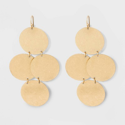 Tiered Textured Disc Drop Earrings - Universal Thread™ Gold