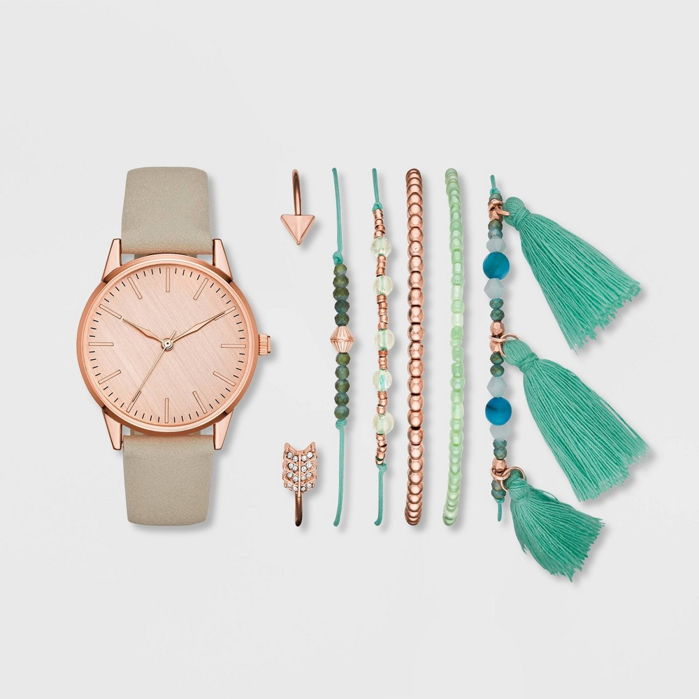 Image of Women's Clean Dial Strap Watch Set - A New Day Rose Gold/White, Size: Small, White Pink Blue