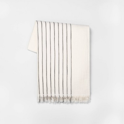 Striped Throw Blanket Railroad Gray/Sour Cream - Hearth & Hand™ with Magnolia