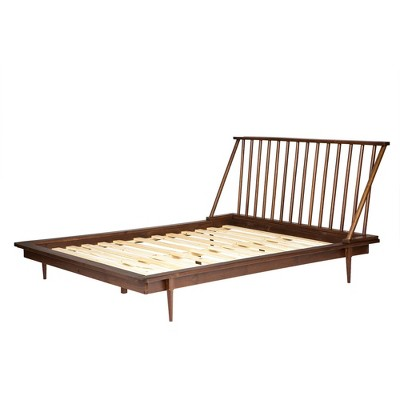 Queen Mid-Century Modern Solid Wood Spindle Bed Walnut - Saracina Home