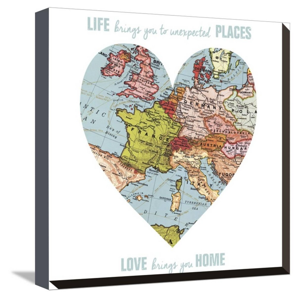 Love Map By Erin Clark Stretched Unframed Wall Canvas Print 13