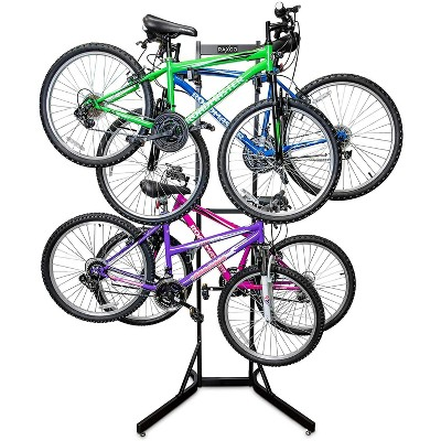 RaxGo Bike Storage Rack, 4 Bicycle Garage Floor Stand, Adjustable, Freestanding, Adjustable Hooks, For Mountain & Road bicycles, Universal For Indoor Use
