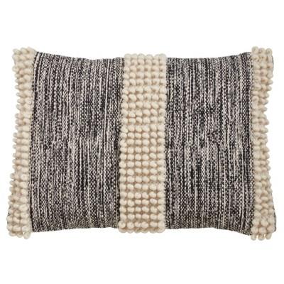 Oversize Pom-Pom Striped Throw Pillow Cover Cream/Black - Saro Lifestyle
