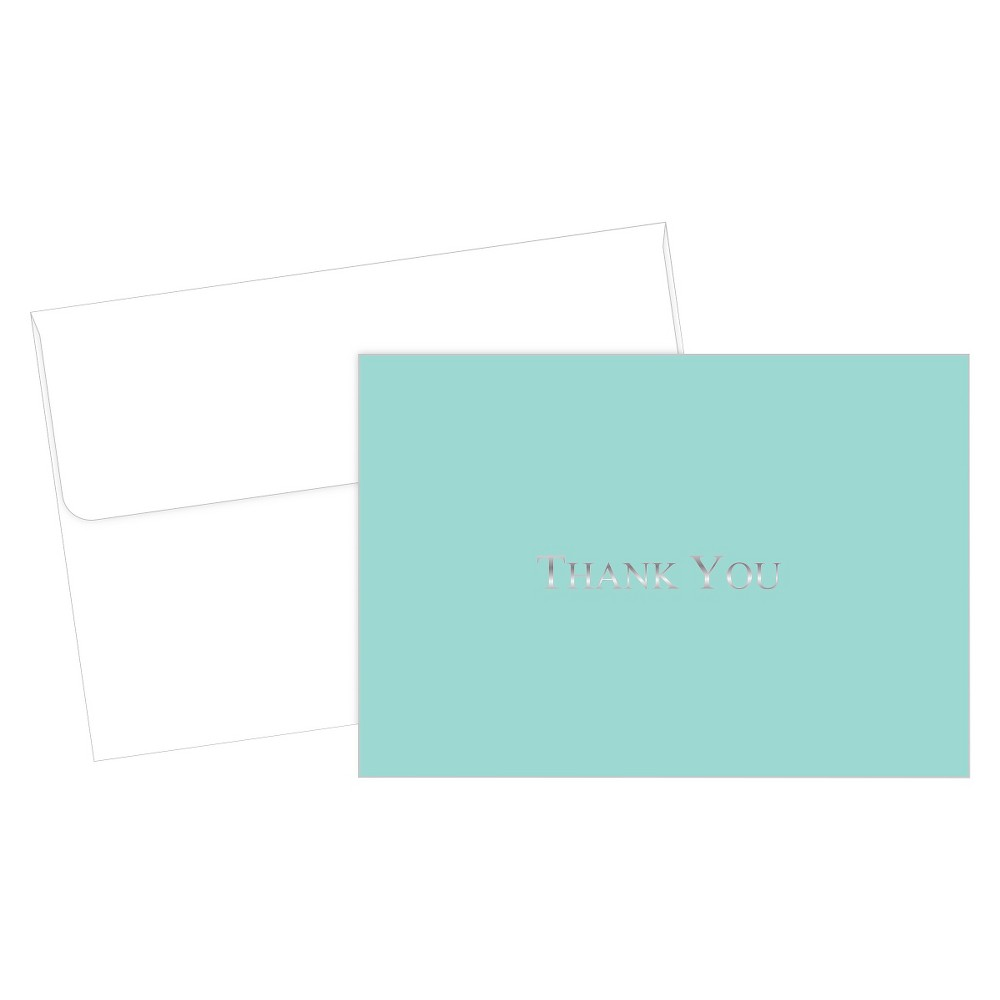 Bella Blue Foil Thank You Cards (20ct) Bella Blue Foil thank you note cards and envelopes. 20 note cards and 20 envelopes. Size 4.875  x 3.375 . 65 lb. cover. Includes a magnetic keepsake box.