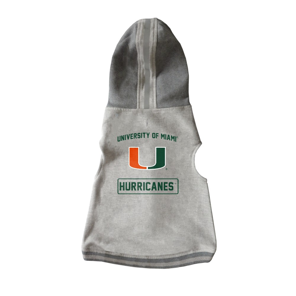 Miami Hurricanes Little Earth Pet Hooded Crewneck Football Shirt - 2XL, Size: Xxl, Multicolored