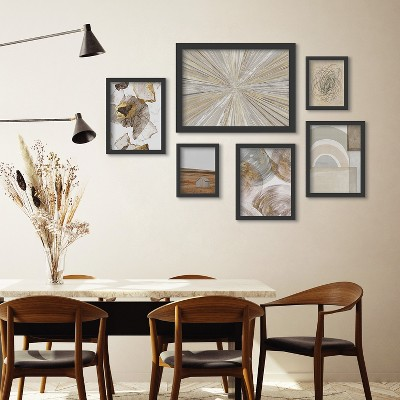 Americanflat Abstract Shimmering Light Color Blocks by 6 Piece Framed Gallery Wall Art Set