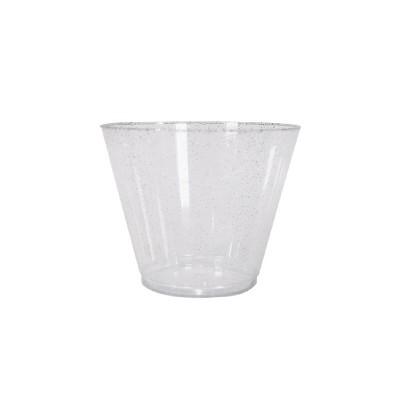 9oz 20ct Stemless Wine Glasses Silver - Spritz™