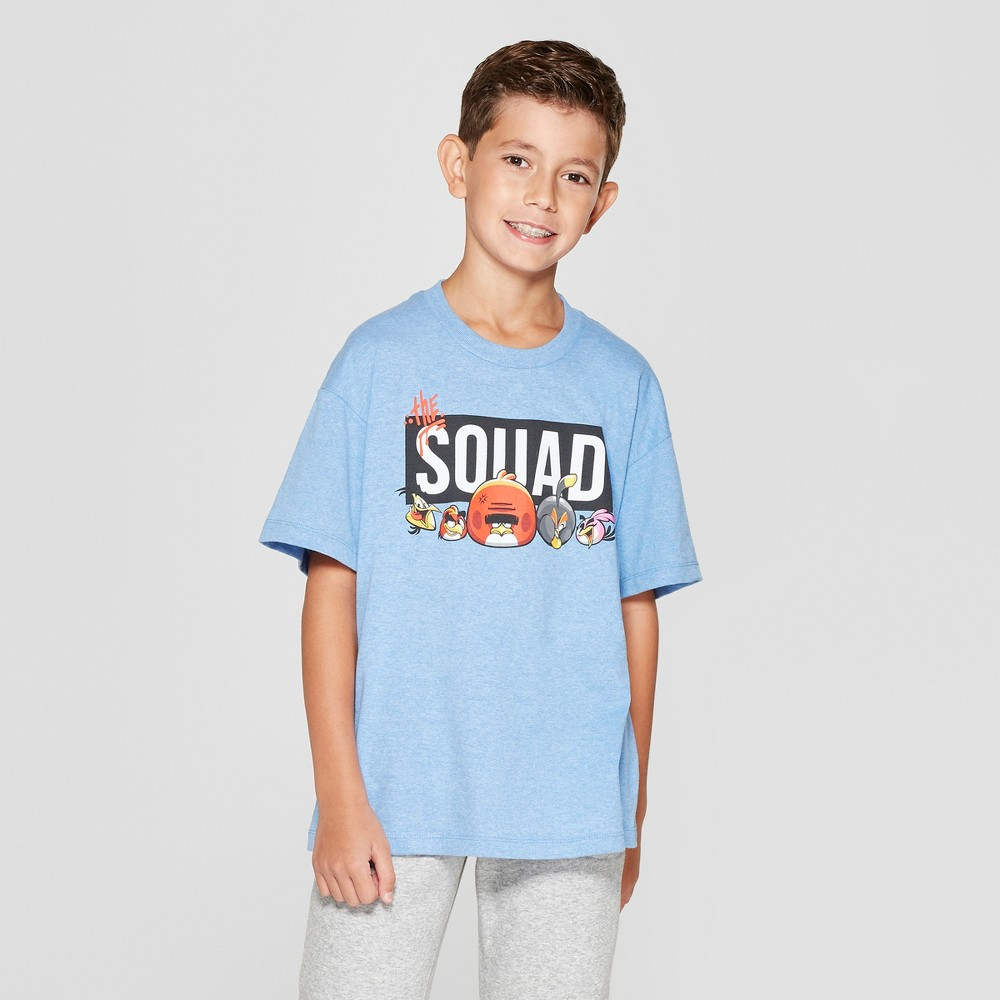 Boys' Angry Birds Squad Short Sleeve Graphic T-Shirt - Blue Heather M