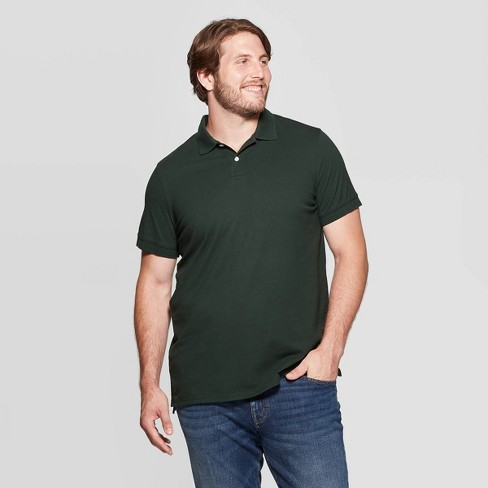 Men's Big & Tall Collared Loring Polo Shirt - Goodfellow & Co™ Forest Green 2XB