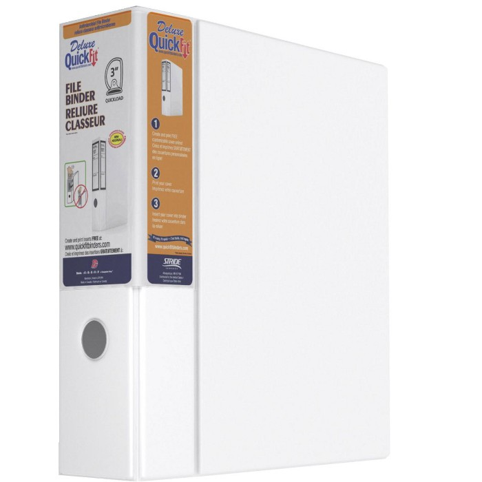 Stride QuickFit Polypropylene Antimicrobial D-Ring File Binder with Thumb Hole, 3 in, White - image 1 of 2