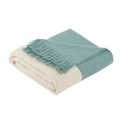 60 x50  Color Block Faux Cashmere Throw Blanket Aqua