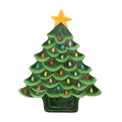 "14"" Ceramic Nostalgic Tree Platter - Mr. Christmas"