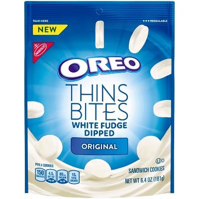 Oreo Thins Bites White Fudge Dipped Original Sandwich Cookies - 6.4oz