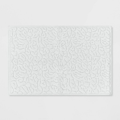 Textured Animal Print Bath Rug White - Opalhouse™