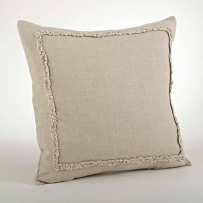 "20"" Ruffled Design Pillow Natural - Saro Lifestyle"