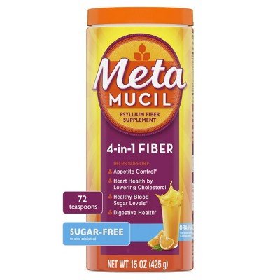 Metamucil Psyllium Fiber Supplement Sugar Free Powder - Orange Smooth