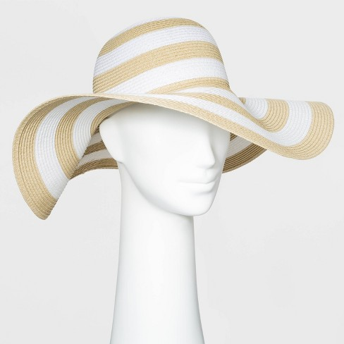 Women's Packable Essential Striped Straw Floppy Hat - A New Day™ One Size - image 1 of 1
