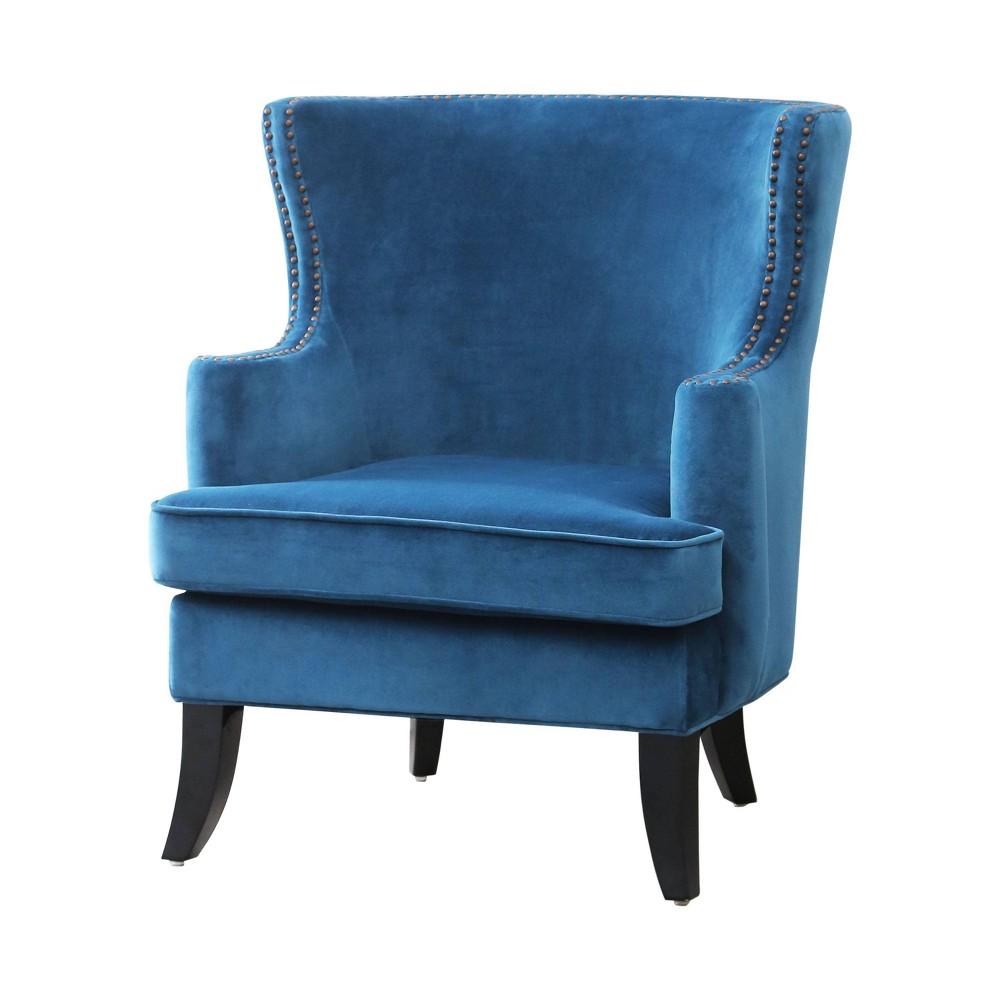 Lauren Fabric Nailhead Trim Armchair - Blue - Abbyson Living