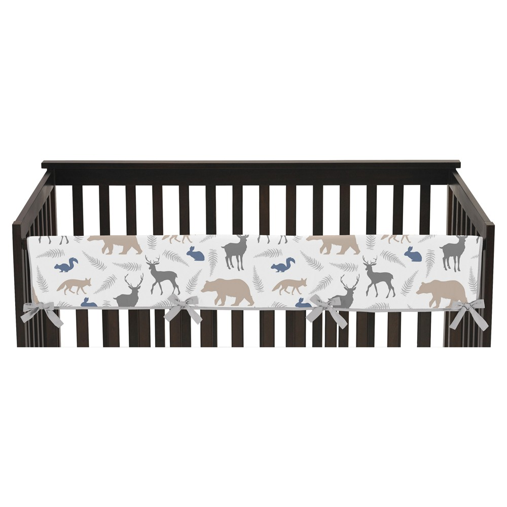 Sweet Jojo Designs Long Crib Rail Guard Cover - Woodland Animals
