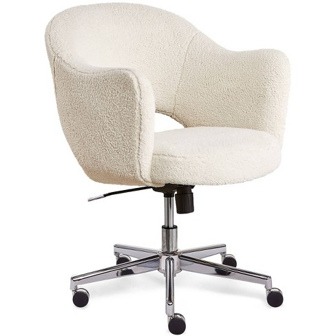Style Valetta Home Office Chair Faux Shearling Wool Cream Serta Target