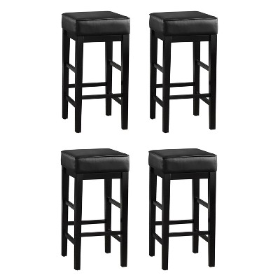 """Lexicon 29"""" Pub Height Wooden Bar Stool Leather Seat Barstool, Black (2 Pack)"""