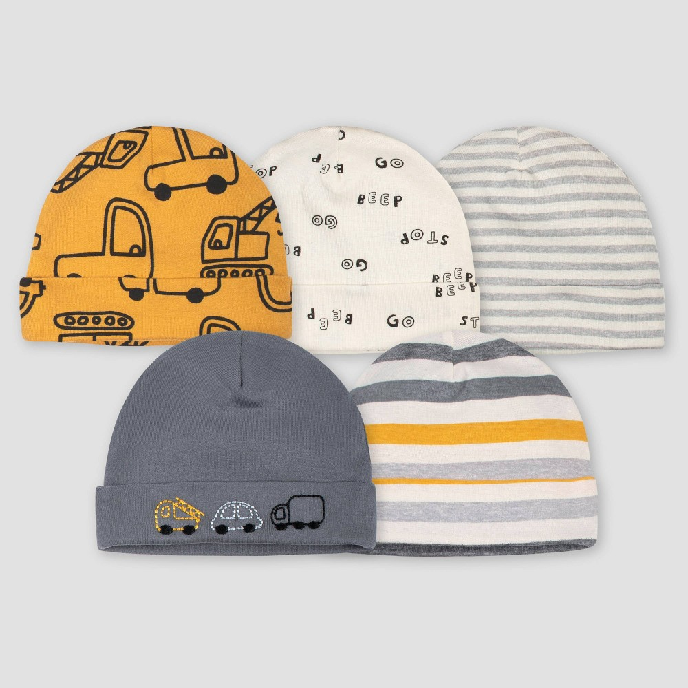 Image of Gerber Baby Boys' 5pk Vehicle Caps - Gold/Gray 0-6M, Boy's, Size: Small