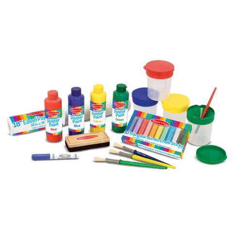 Melissa & Doug® Easel Accessory Set - Paint, Cups, Brushes, Chalk, Paper, Dry-Erase Marker - image 1 of 6