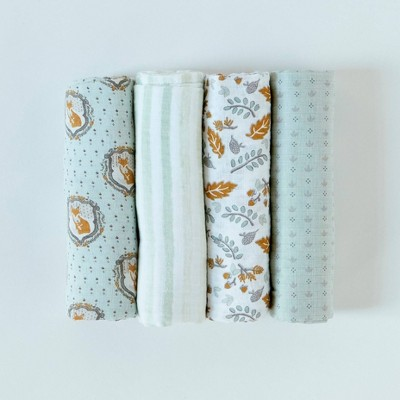 Patina Vie Muslin Swaddle Blanket Set - Fox 4pc