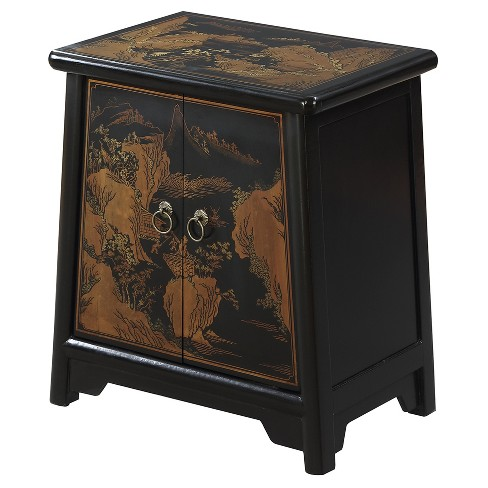 Touch of Asia Cabinet End Table - Black - Convenience Concepts - image 1 of 3