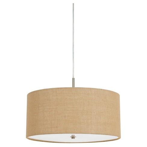 Cal Lighting 60w X 3 Addison Burlap Drum Pendant
