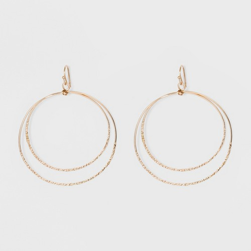 Delicate Double Open Work Circles Drop Earrings - A New Day Rose Gold