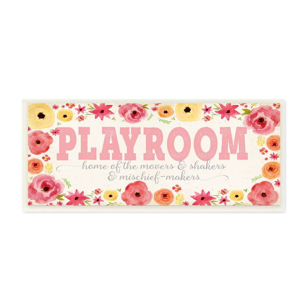 "Image of ""7""""x0.5""""x17"""" Playroom Home of Mischief Makers Pink Wall Plaque Art - Stupell Industries"""