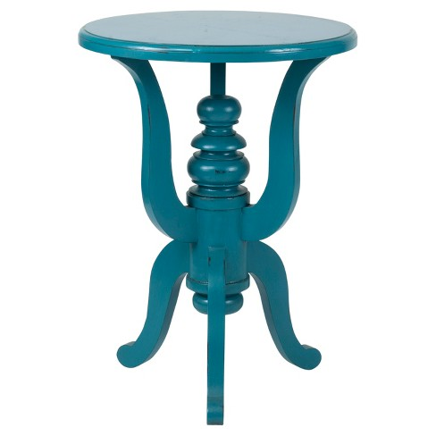Yetter Round Mahogany Accent Table - Turquoise - East At Main - image 1 of 4