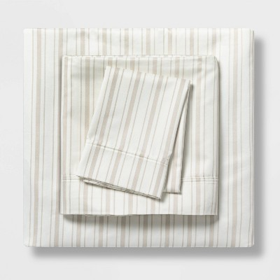 Twin/Twin XL 400 Thread Count Striped Performance Sheet Set White/Gray - Threshold™