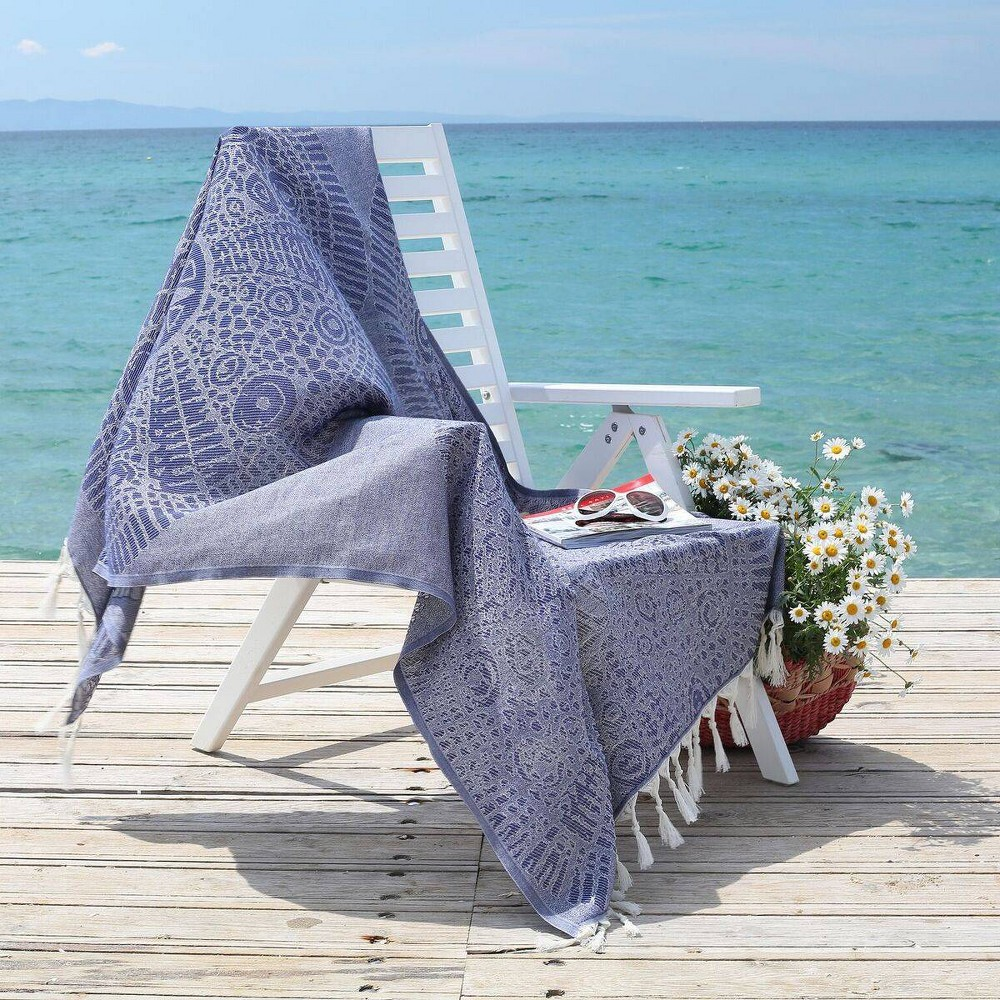 Anatolian Pattern Pestemal Beach Towel Blue - Linum Home Textiles