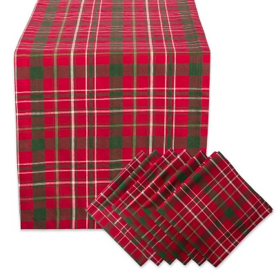 Tartan Holly Plaid Table Runner & Napkin Set Red - Design Imports