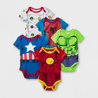 Baby Boys' 5pk Marvel Spider-Man, Iron Man, Hulk, & Captain America Short Sleeve Bodysuit - Red/White 12M