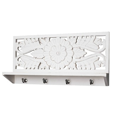 Carved Wooden Coat Rack Wall Shelf White - Crystal Art Gallery