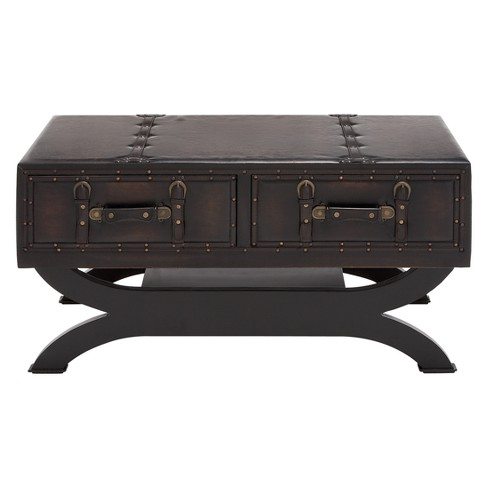 Faux Leather Trunk Coffee Table Brown Olivia May