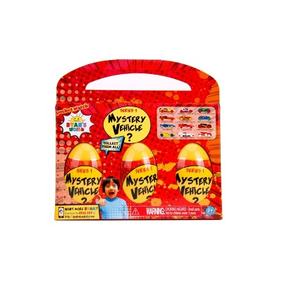 Ryan's World Mystery Eggs with Die-Cast Vehicles 3pk