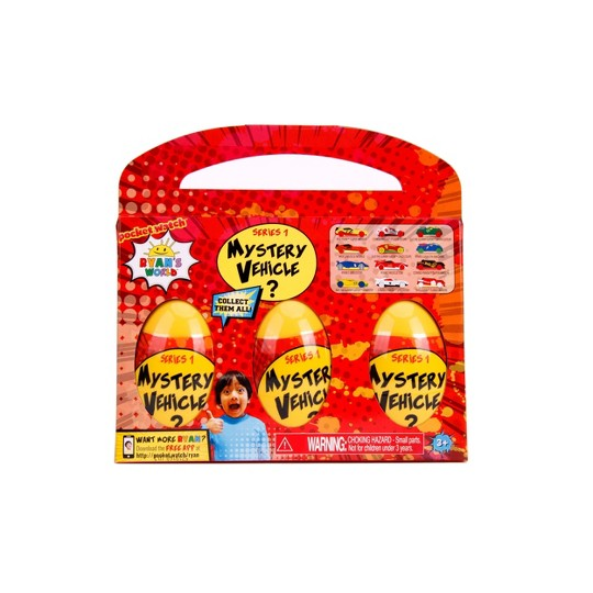 Ryan's World Mystery Eggs with Die-Cast Vehicles 3pk image number null