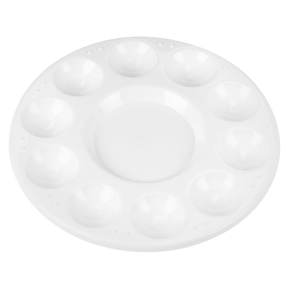 Image of Chenille Kraft Round Plastic Paint Trays for Classroom - White (10 Per Pack)