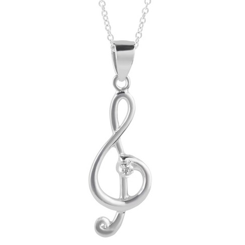 1/10 CT. T.W. Round-cut Diamond Pave Set Treble Clef Pendant Necklace in Sterling Silver (JK-I1-I2) - image 1 of 2