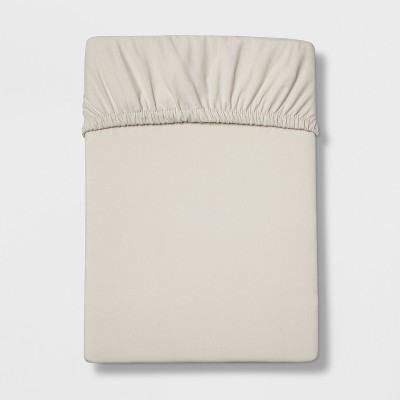 Queen 300 Thread Count Ultra Soft Fitted Sheet Set Beige - Threshold™