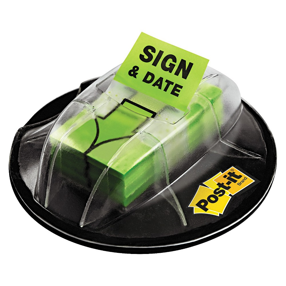 Post-it Flags in Dispenser, Sign & Date, Bright Green, 200 Flags/Dispenser