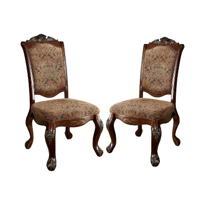 Set of 2 StrawthorneElegant Claw Feet Carved Side Chair Red - HOMES: Inside + Out