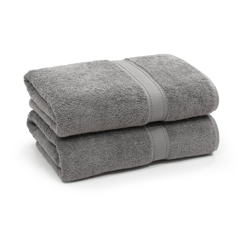 Image of 2pk Sinemis Turkish Bath Towel Collection Dark Gray - Linum Home Textiles